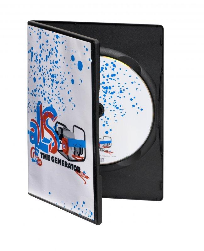 DVD-kotelo. Saatavana mustana tai läpinäkyvänä. Myös muut värit mahdollisia erikoistilauksesta.