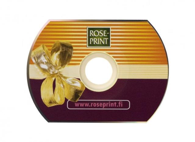 Käyntikortti-CD silkkipainatuksella, ovaali